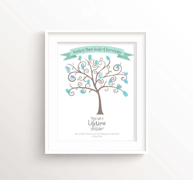 Teacher Fingerprint Tree Print, Fingerprint Teacher Gift Wall Art, teacher fingerprint tree printable, teacher gifts