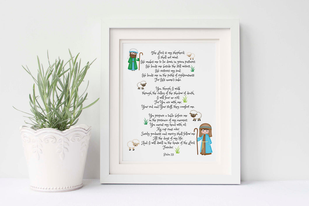 Psalm 23 Wall Art for Nursery Bible Verses for Walls, Christian Nursery Art