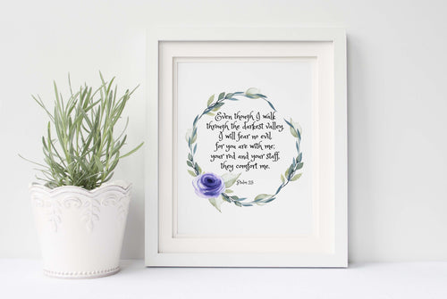 Psalm 23 Wall Art, Even Though I Walk Through The Valley Wall Art