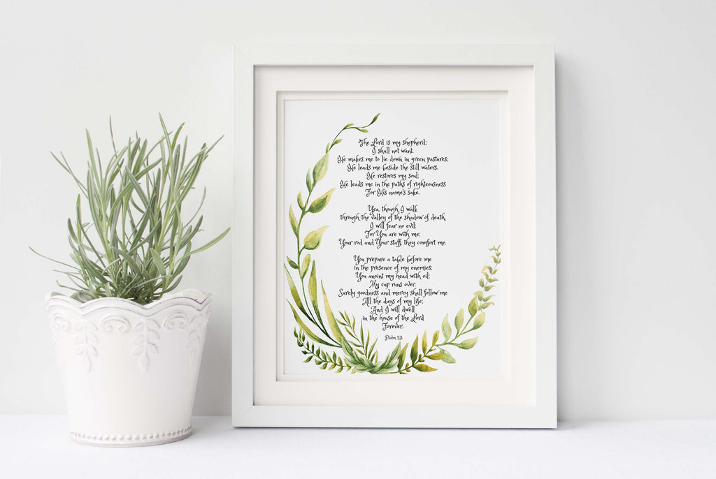 Psalm 23 Wall Art, The Lord is My Shepherd Print, Bible Verse Print