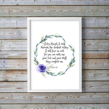 watercolor scripture art, The valley, Floral bible verse print, Psalm 23, He Leads Me Beside The Still Waters