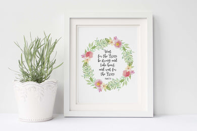 Crafty Cow Design - Wait for the Lord Wall Art, Scripture Wall Art UK, Psalm 27 14 Print