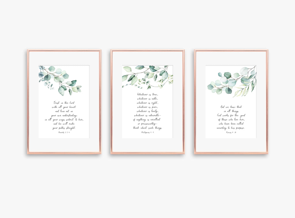 contemporary Christian Wall Art Uk, christian print sets uk, botanical print sets, botanical wall art, botanical prints