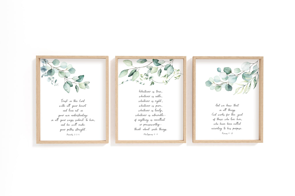 Bible Verse Print Set of 3, Christian Print Sets, Bible Verse Contemporary Art, Christian Pictures with Scriptures