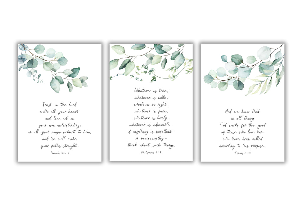 christian wall art prints, christian prints uk, bible verse wall art uk, botanical print sets, botanical wall art