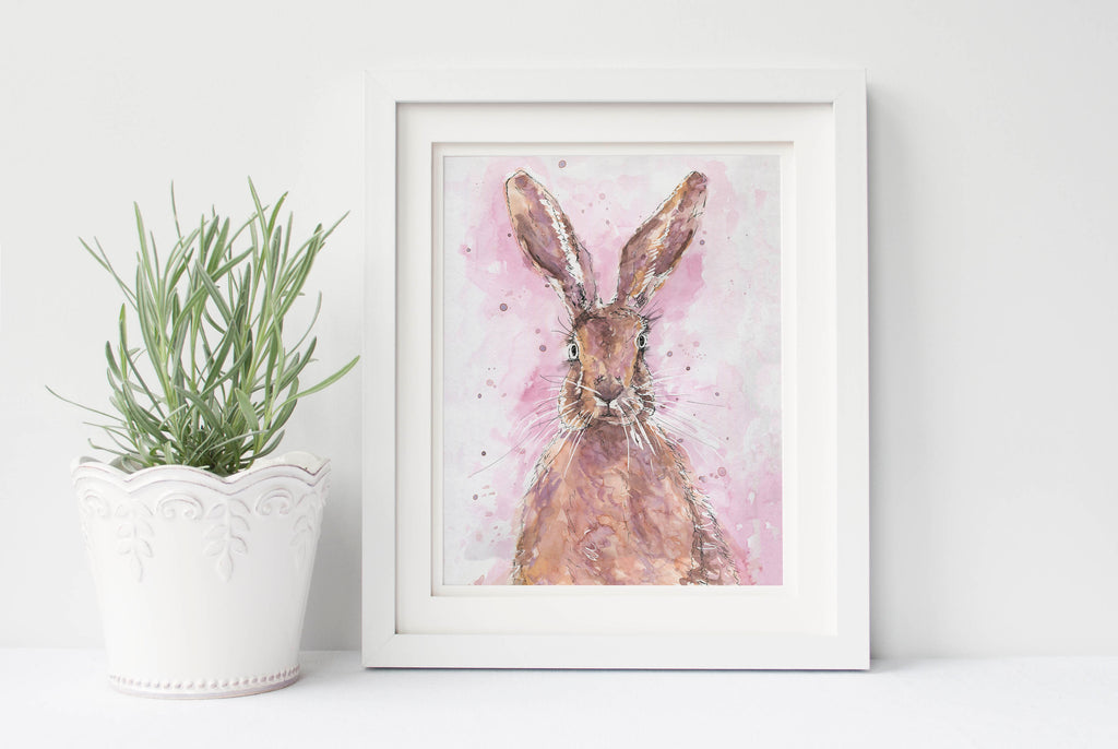 Watercolour Hare Print, Hare Watercolour UK,Rabbit watercolour print