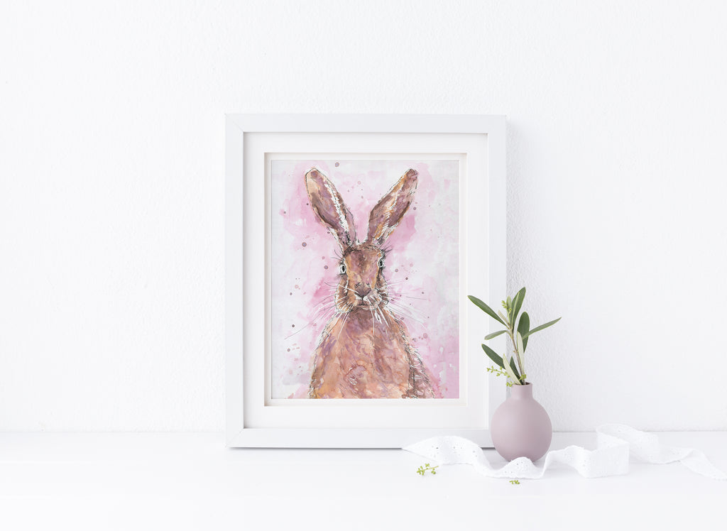 Watercolour Hare Painting, Watercolour Hare Pictures, hare watercolor paintings, hare watercolor artwork, hare wall art