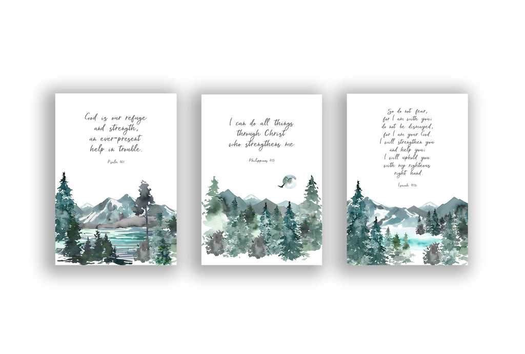 Christian Art Gifts, Christian Print Set, bible verse wall art uk, contemporary christian wall art, bible verse prints