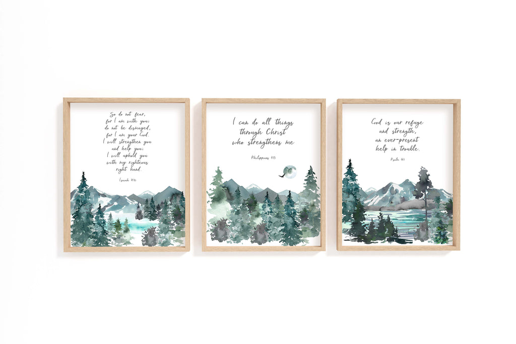 Comfort Christian Art Print Set of 3, Bible Verses about Comfort, Christian Prints, Christian Artwork UK, Bible Verse