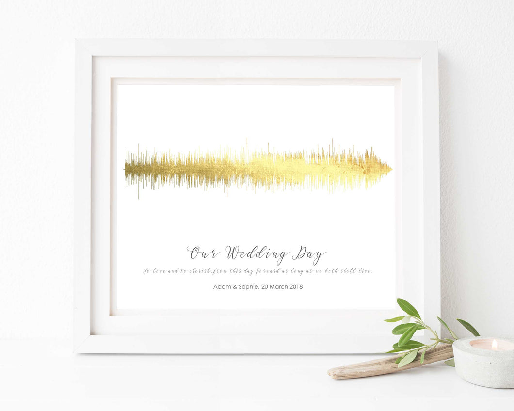 Wedding Vow Soundwaves, Wedding Vow Wall Art, Wedding Vow Keepsake, Personalised Wedding Gift, Gold Foil Prints
