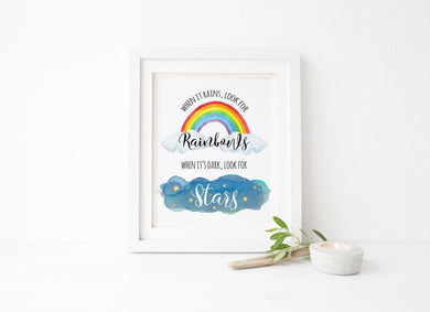 when it rains look for rainbows when it's dark look for stars print, girls room wall art