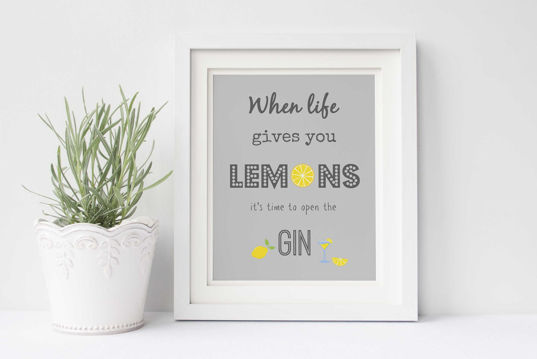 When Life Gives You Lemons Wall Art, Gin and Tonic Print for Kitchen