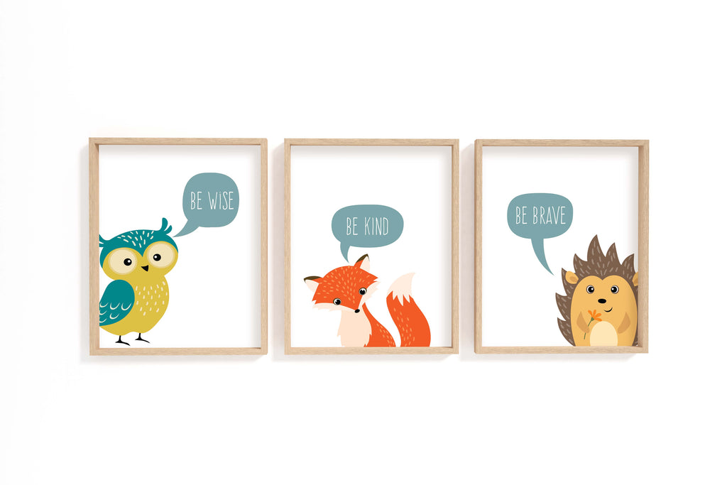 Set of 3 Woodland Animal Nursery Prints, Be Kind Print, Be Wise, Nursery Printable Animal Wall Art, Be Brave Wall Art