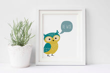 owl wall art, owl wall art for nursery, owl wall art uk, be wise quotes, be wise nursery prints, be wise printables