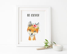 watercolor fox art, fox watercolor nursery, personalised kids wall art, nursery fox decor, nursery fox prints, fox art