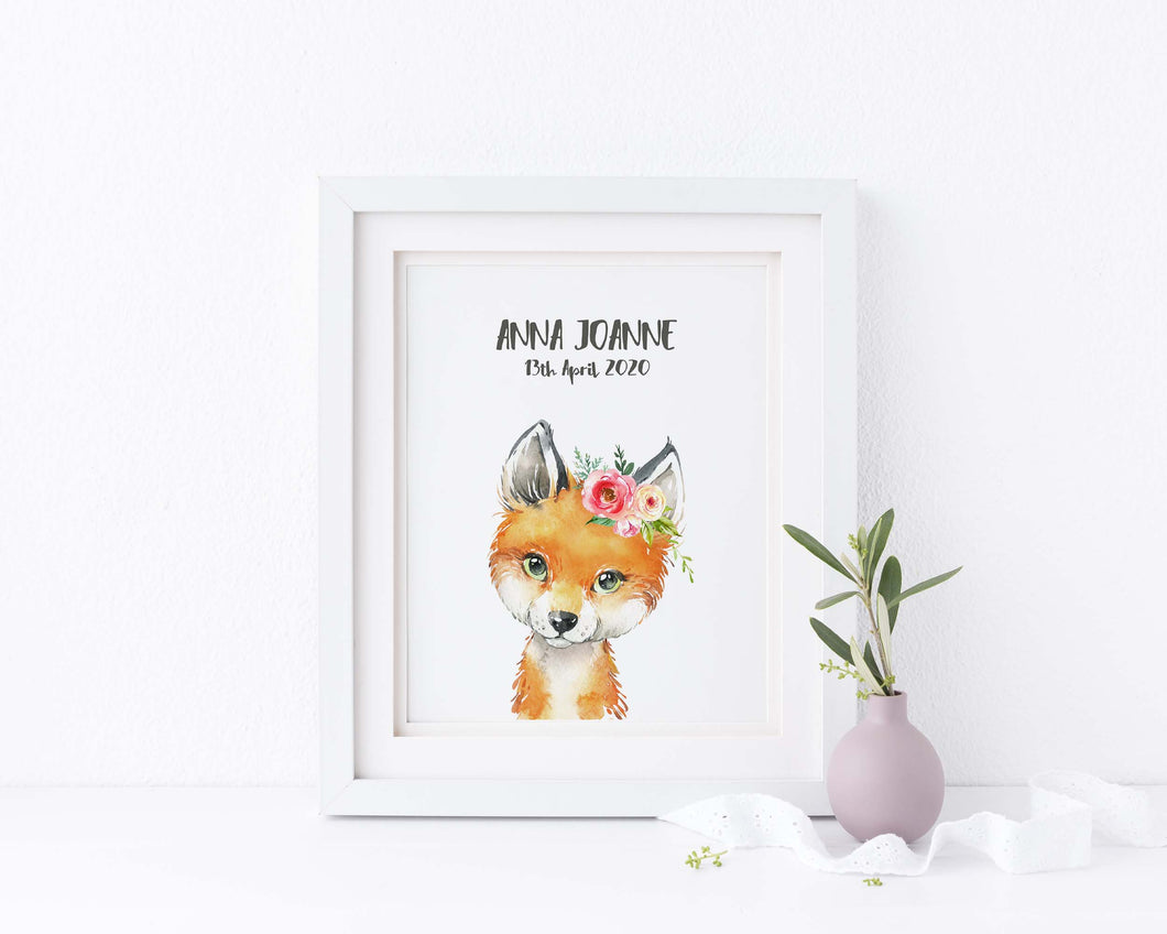 Fox Watercolor Nursery Wall Art, Curtom Text Nursery Wall Art Print, Personalised Text Nursery Wall Art, kids room art