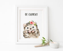 Personalized Kids Name Picture, custom kids name wall art, hedgehog themed presents, woodland nursery wall decor