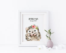 Hedgehog Nursery Decor, Watercolour Hedgehog Nursery Print for Kids, Personalized Kids Name Picture, custom kids name