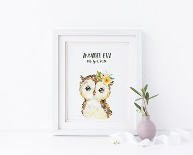 Owl Nursery Decor, Childrens Owl Room Decor, Woodland Animal Prints, woodland animals uk, woodland animal decor