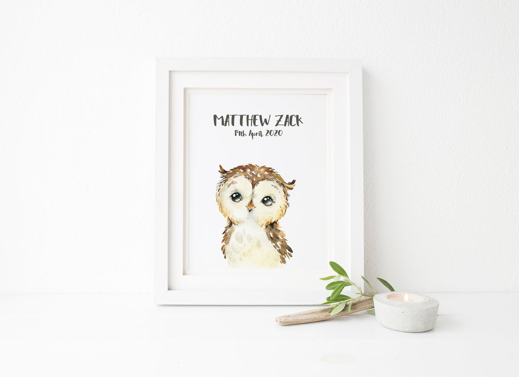 watercolour nursery, watercolour nursery animal prints, watercolour nursery room art, owl nursery print, owl kids room