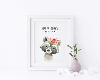 Raccoon Nursery Print, Raccoon Nursery Decor, Woodland Nursery Print, Watercolour Baby Bedroom Decor