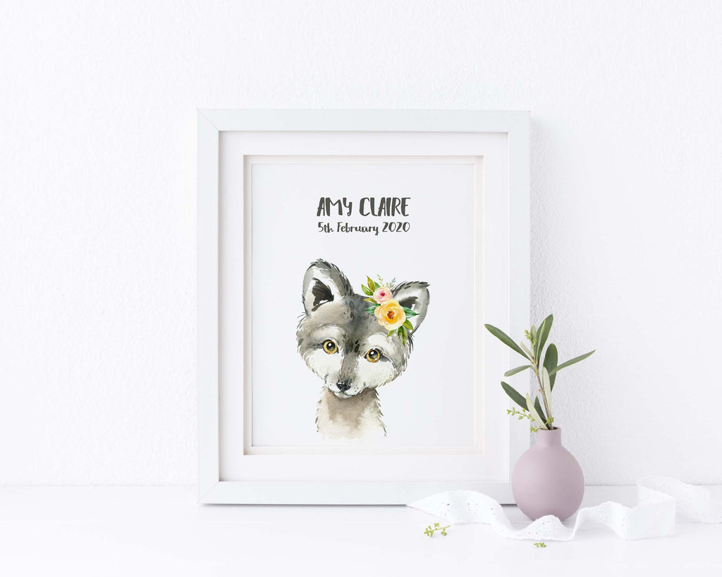 Wolf Nursery Decor, Watercolour Woodland Animals, Personalised Baby Gifts, personalised baby wall art
