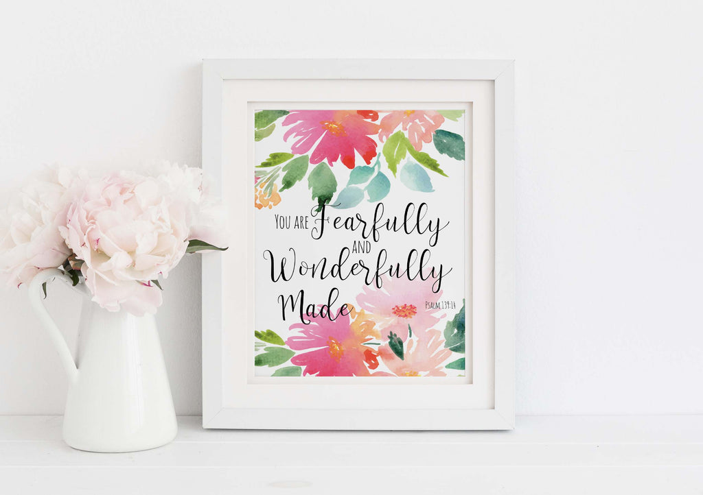 Psalm 139 4 Prints, You are fearfully and Wonderfully Made Wall Art, Fearfully and wonderfully made decor, christian art