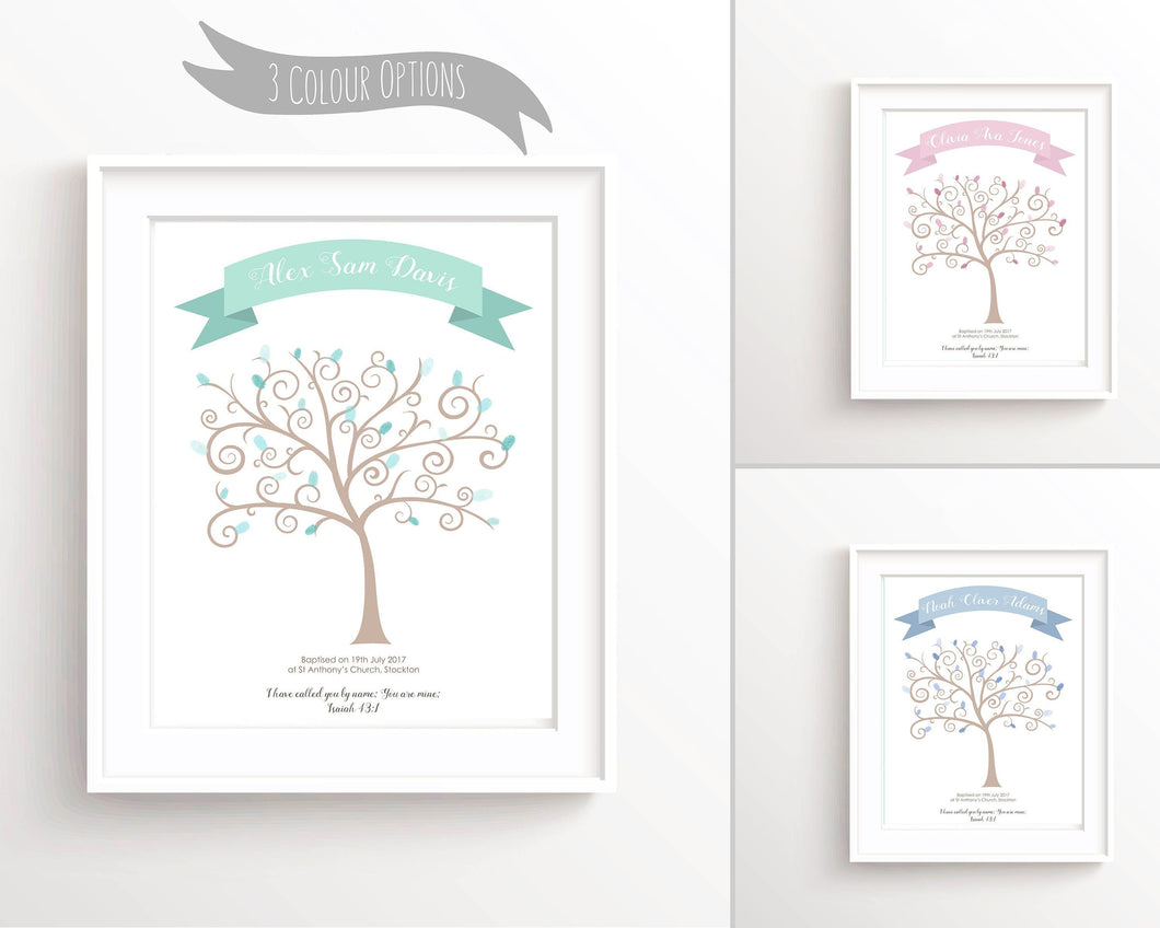 Baptism Fingerprint Tree - baptism fingerprint tree, christening guest book ideas, handmade christening guest book christening guest book alternatives