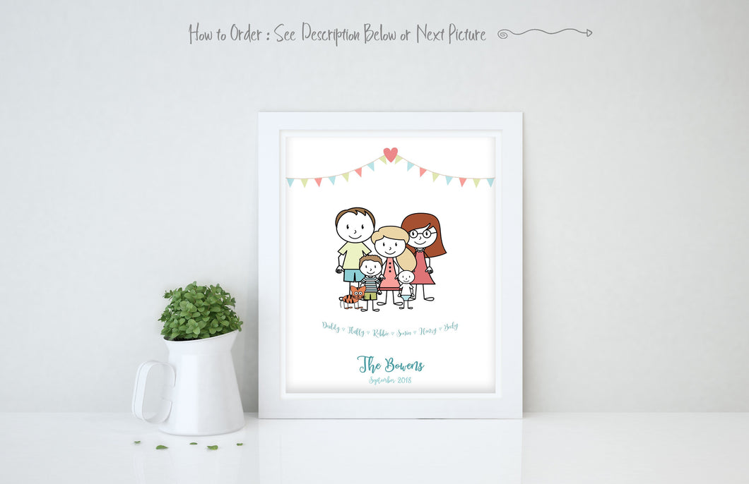 Personalised Family Print, Family Picture Cartoon, Family Wall Art Ideas, personalised family print with rabbit