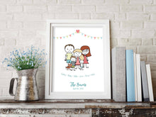 Family Prints2 - Personalised Family Gifts, gift Ideas for Family Friends, one gift whole family, Personalised Family Print, Family Picture Cartoon, Family Wall Art Ideas