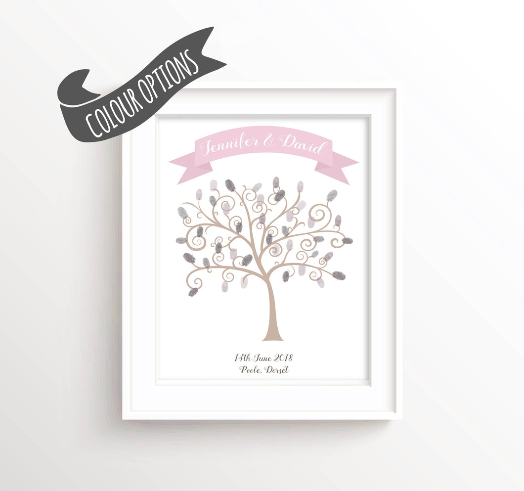 Fingerprint Tree Print - Wedding Fingerprint Tree Print, Wedding Tree Guest Book Alternative, Wedding Thumbprint Tree