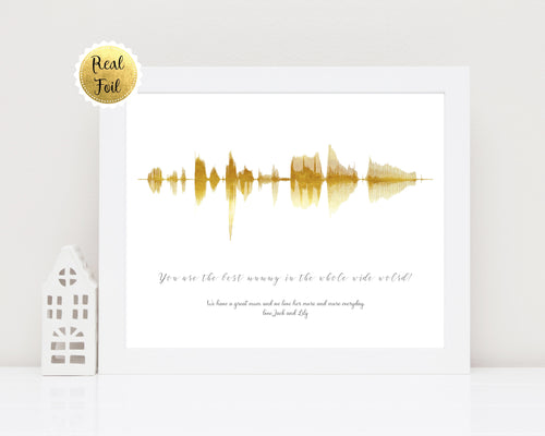 Foil Soundwaves - Personalized Sound Wave Print Wall Art - Soundwave Art UK - Wife Birthday Gift Idea, Sound Wave Art, Soundwave print UK, Metallic soundwave print