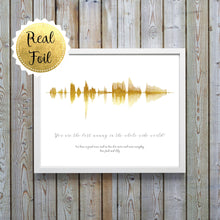 Foil Soundwaves - Personalized Sound Wave Print Wall Art - Soundwave Art UK - Wife Birthday Gift Idea