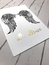 Gold Foil Prints 3 - gold foil print, print gold foil gold foil prints, gold foil art prints, Be Brave Wall Art Print, Gold Foil Print, Black Angel Wings Pictures