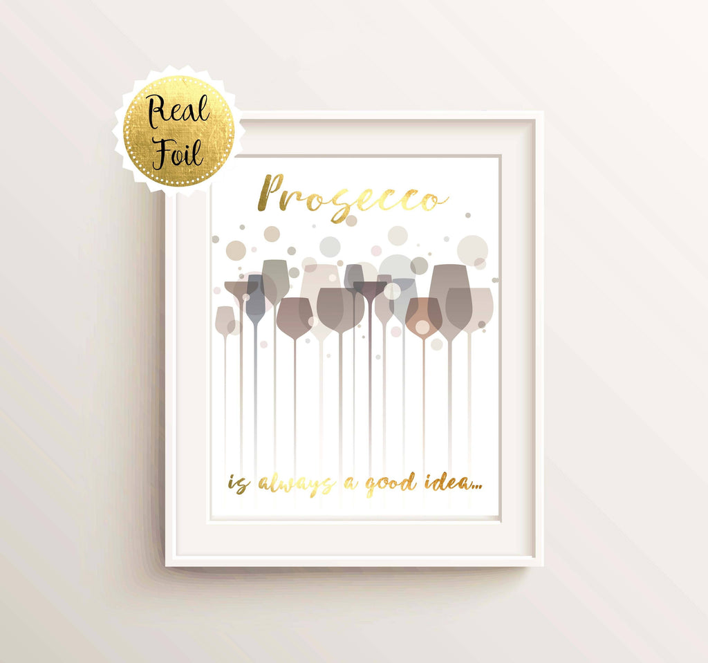 Gold Foil Prints 3 - Prosecco Lover Gifts, Artwork For Kitchen Walls, Kitchen Wall Art