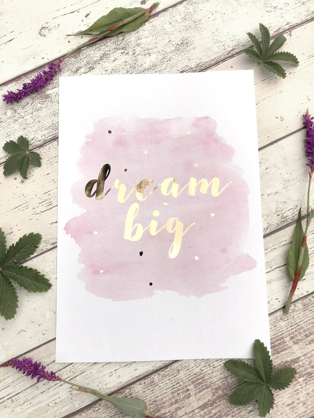 Gold Foil Prints 5 - Dream Big Print Poster, Gold Foil Print Art, Rose Gold Foil Prints