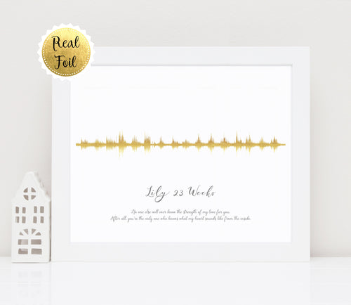 Gold Foil Prints - Baby Heartbeat Picture Sound Wave Print, Heartbeat Sound Wave, Gold Foil Print, personalised soundwave print uk, soundwave art uk