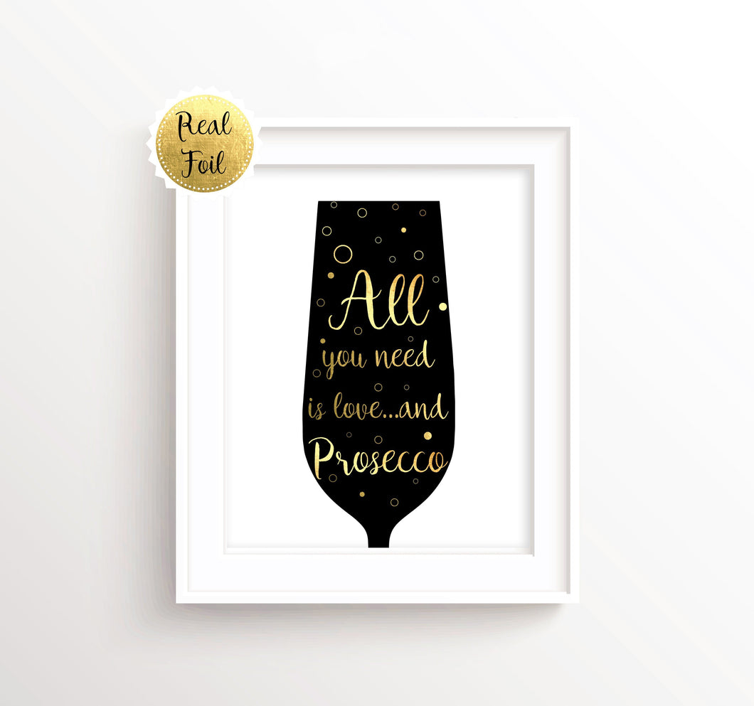 Gold Foil Prints - Prosecco Lover Gifts, Artwork for Kitchen Walls, Kitchen Wall Art