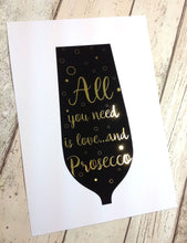 Gold Foil Prints - Prosecco Lover Gifts, Kitchen Wall Art, Prosecco Wall Decor Print