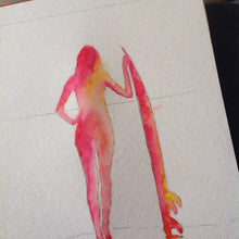 Surfer Girl Watercolour painting - work in progress
