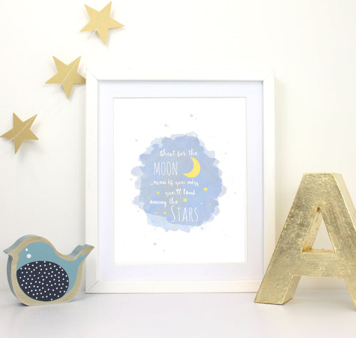Nursery Prints - Moon Nursery Art - Shoot For The Moon Print - Inspirational Nursery Quote
