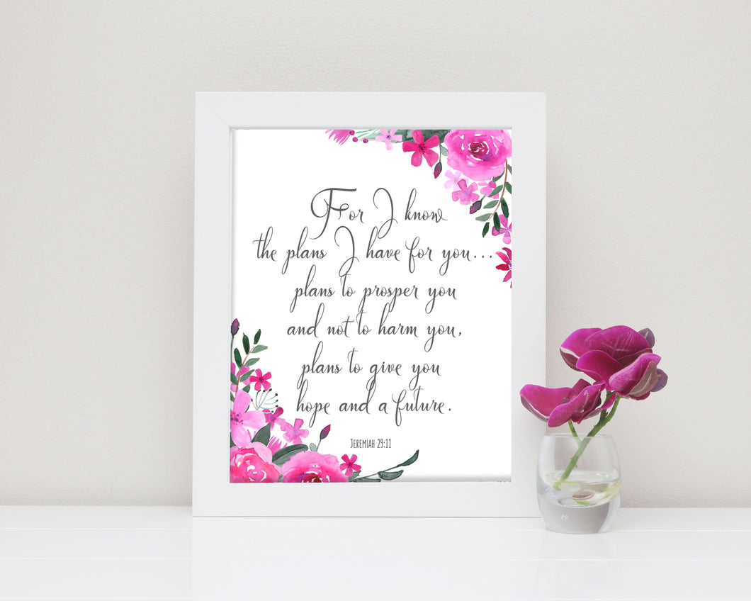 Prints - Bible Verse Jeremiah 29 11 Poster, For I Know The Plans I Have For You