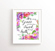 Bible Verses With Flowers, Ephesians 2 8 Wall Art, Christian Quotes About Faith