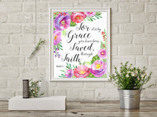 Prints - Bible Verses With Flowers, Ephesians 2 8 Wall Art, Christian Quotes About Faith