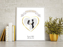 Prints - Gold Foil Wedding Print - Personalised Wedding Gift - A Perfect Match
