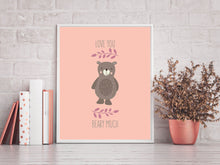bear nursery decor, bear nursery print, i love you beary much poster, we love you beary much printable, bear wall art