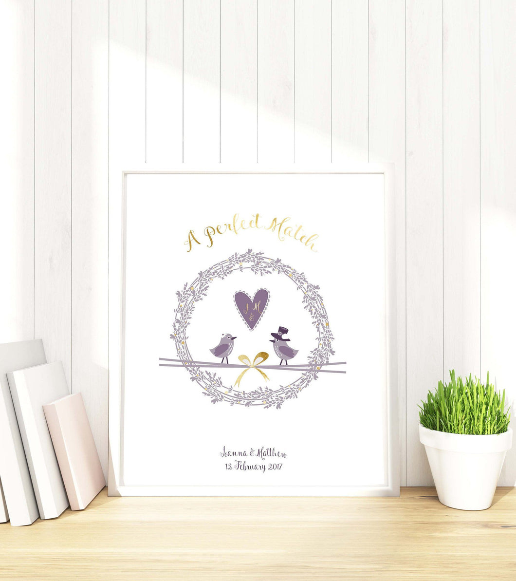 Prints - Personalised Gold Foil Wedding Print - Custom Wedding Gift - A Perfect Match