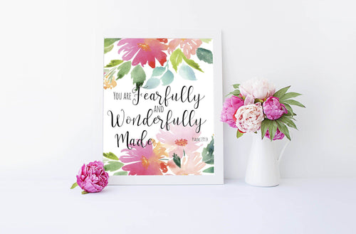 Psalm 139 4 - You Are Fearfully And Wonderfully Made Bible Verse Print