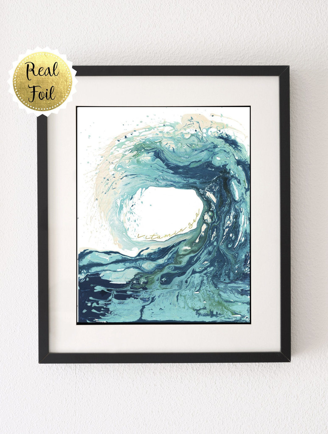 Vitamin Sea Picture, Abstract Ocean Art, Ocean Wave Art, Gold Foil Print