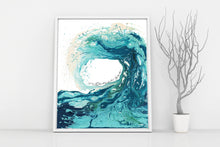 Ocean Abstract Art Print - Sandbanks Wave Print with Gold Foil Inscription in Gold Foil